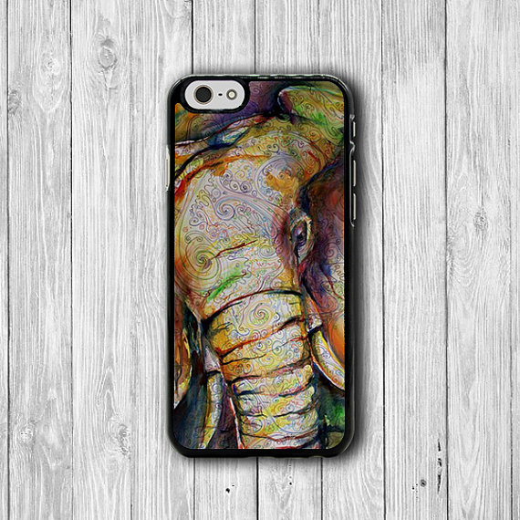 Elephant Abstract Drawing iPhone Cases, Oil Color Paining iPhone 6 Cover, iPhone 6 Plus, iPhone 5 Hard Case, Rubber Deco Accessories Gift