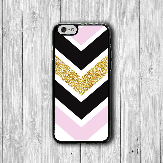 Black Pink Gold Custom Chevron Phone Cases, iPhone 6 Cover, iPhone 6 Plus, iPhone 5, iPhone 4S Hard Case, Rubber Geometric Deco Boss Gift #29