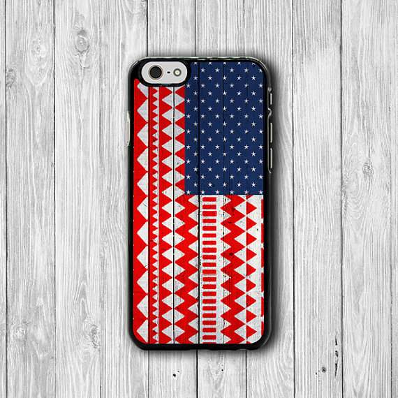 Aztec USA Flag Wooden Vintage iPhone 6 Cover, American Wood Red iPhone 6 Plus, iPhone 5S, iPhone 4S Hard Case, Rubber Cover Accessories Gift #32