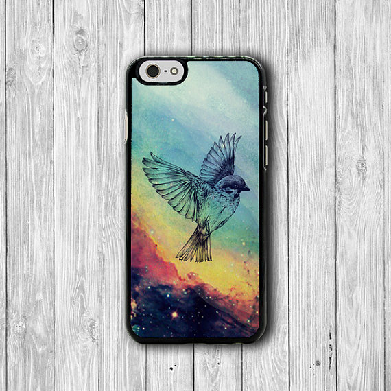 Bird Flying Abstract Galaxy Drawing Wing iPhone 6 Case, Artist iPhone 6 Plus, iPhone 5S, iPhone 4S Hard Case, Rubber Art Accessories Gift #34