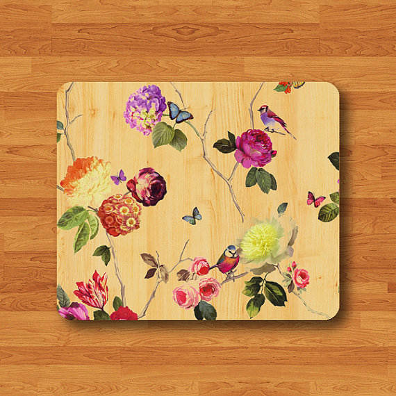 Beautiful Flower And Colorful BIRD Mouse Pad Vintage Wood Printed MousePad Rectangle Eco-Friendly Rubber Personal Gift Computer Desk Deco#2-5