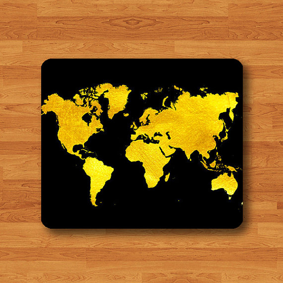 GOLD World Map Atlas Black Art Print Mouse Pad Geographic MousePad - Black and gold world map