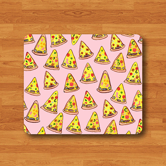 Cartoon Funny PINK PIZZA Mouse Pad Seamless Pattern Soft Fabric MousePad Work Desk Computer Pad Person Customized Gift Pizza Food Decorate#2-32