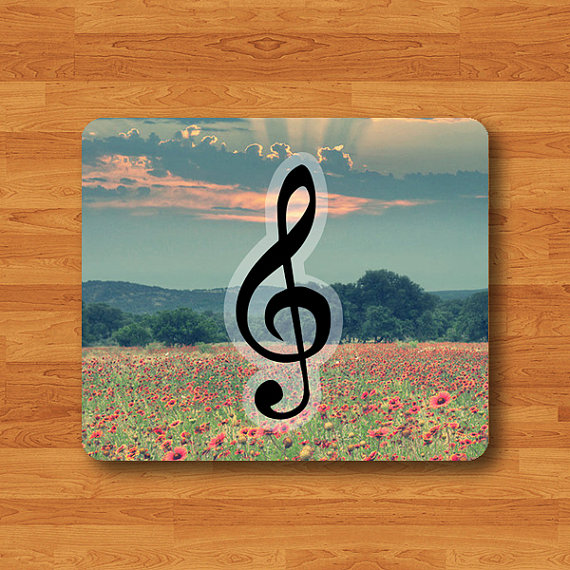 Treble Clef Vintage Floral Mouse Pad G Clef Lovely Music Natural MousePad Office Desk Deco Personalized Teacher Gift Soft Fabric Rubber Pad#2-37