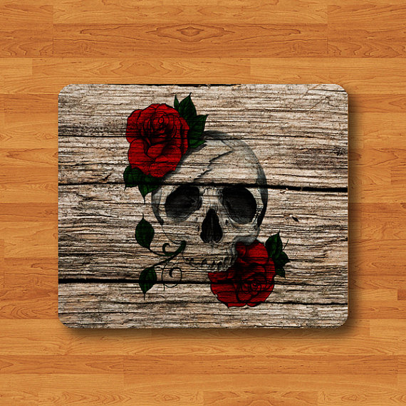 Human Skull Rose Wood Art Paint Mouse Pad Vintage Wooden Rubber Natural Soft Fabric Soft Rubber MousePad Desk Deco Work Gift Christmas Gift#2-48