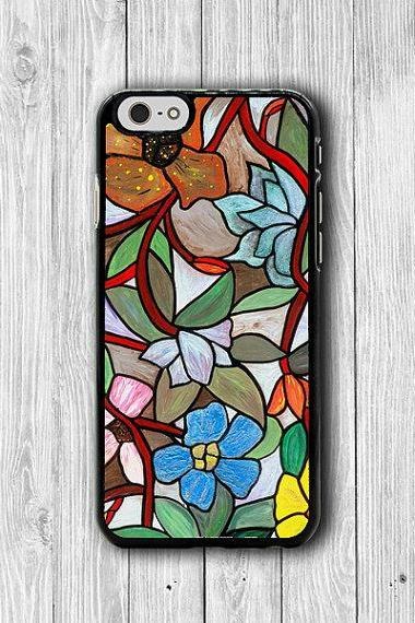 Stained Glass Flower Cases Printed Design for iPhone 6 Cases, 6 Plus, iPhone 5S,5 Case, iPhone 5C Case, iPhone 4S, 4 Floral items HER Gift