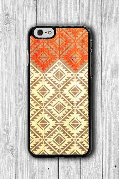 Tribal Indian Pattern Wooden iPhone 6 Cases, iPhone 6 Plus, iPhone 5 / 5S, iPhone 4 / 4S Geometric Phone Cover Natural Rubber Personalized