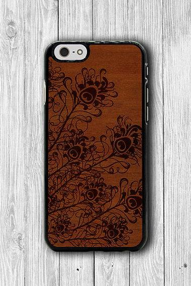 Animal PEACOCK WOODEN iPhone Cases, Abstract Painting iPhone 6 Cover, iPhone 6 Plus, iPhone 5 Hard Case, Natural Rubber Deco Accessories