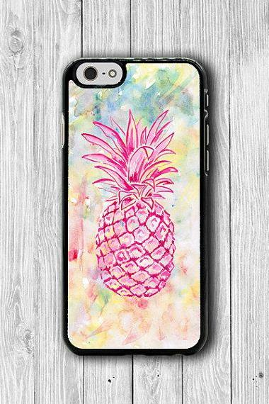 Hipster Pink Pineapple Watercolor iPhone 6 Cover, iPhone 6 Plus, iPhone 5 / 5S iPhone 5C Cases iPhone 4/4S Accessory Colorful Fruit Rubber