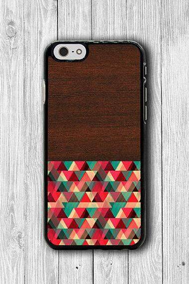 Color Geometric Design Dark Wooden iPhone 6 Case, Artist iPhone 6 Plus, iPhone 5S, iPhone 4S Hard Case, Rubber Art Accessories Gift Decorate #21