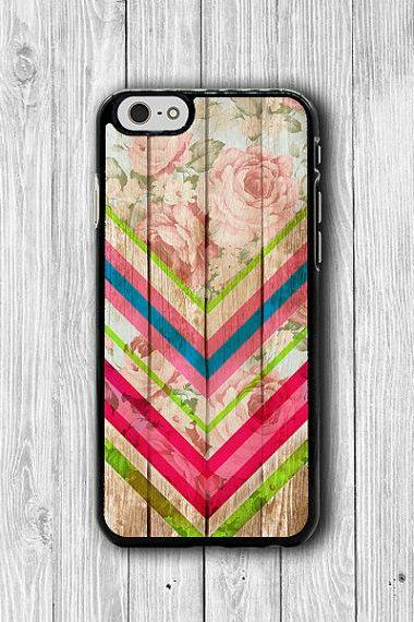 Flower Color Chevron FLORAL iPhone Cases, Beautiful iPhone 6, iPhone 5S Cover Accessories Pocket Cell Phone iPhone 4S, iPhone 6 Plus Wooden #25