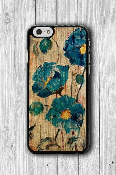 Blue Watercolor Flower Wooden Phone Cases, Floral Painting iPhone 6 Cover,iPhone 6Plus iPhone 5, iPhone 4S Hard Case, Rubber Deco Boss Gift #26