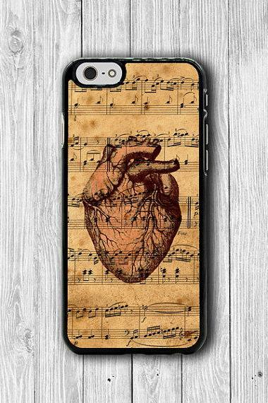 Vintages Music Art Body Heart Love Human Anatomy iPhone 6 Cover, iPhone 6S, iPhone 5 / 5S iPhone 5C Cases iPhone 4/4S Accessories Boss Gift #30