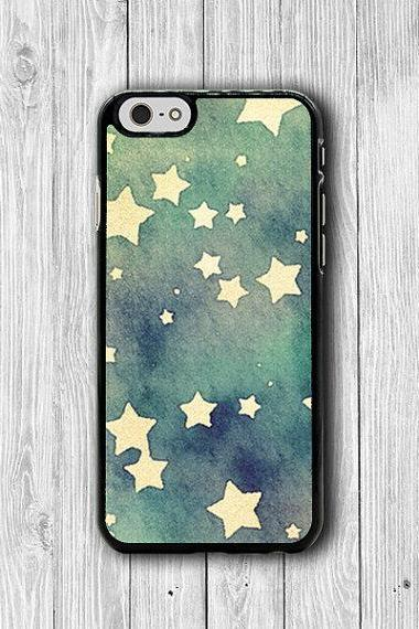 Blue Watercolor Star Paints iPhone 6 Cover, Drawing Pastel iPhone 6 Plus, iPhone 5S, iPhone 4S Hard Case, Rubber Computer Accessories Gift