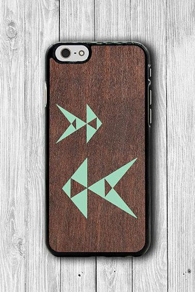 ART Geometric Mint Fish iPhone 6 Cases iPhone 6 Plus, iPhone 5S, iPhone 5 Case, iPhone 5C Case, iPhone 4/4S Wooden Accessory Phone Cover #37