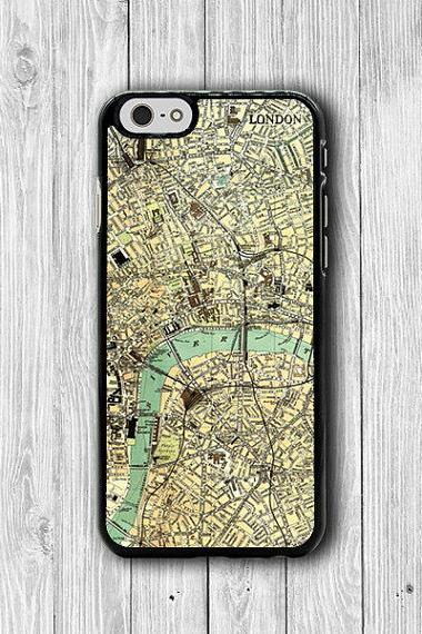 Vintage 60s LONDON MAP iPhone 6 Cover, Art Craft Antique iPhone 6 Plus, iPhone 5 / 5S iPhone 5C Cases iPhone 4/4S Accessory Wallet Case Gift #40
