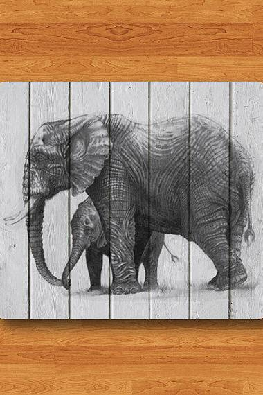 Elephant Pencil Drawing Wooden Mouse Pad Wood Animal Head MousePad Desk Deco Work Pad Mat Rectangle Personal Gift Computer Pad Big Wild Pad #2-1