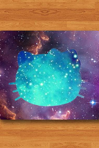 Hello Kitten CAT Galaxy Nubula Mouse Pad Black Drawing Desk Deco Pad Cartoon Shadow Cat MousePad Rubber Personalized Gift Computer Pad#2-2