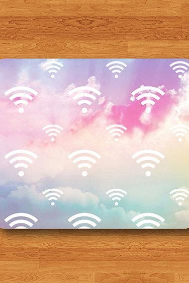 Sweet Cloud Wifi Sign Mouse Pad Love Pastel Printed Rubber MousePad For Girl Desk Deco Work Pad Mat Rectangle Personal Gift Hipster Teen Com#2-3