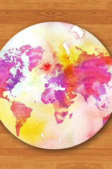 Watercolor World Map Atlas Funny Colorful Mouse Pad Color Drop MousePad Art Painting Design Round Mouse Pad Customized Boss Gift Desk Deco#2-4