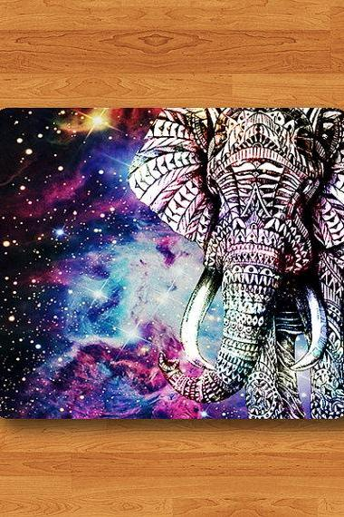 Elephant Galaxy Mouse Pad Hipster Nebula Space Big Animal Art Drawing MousePad Abstract Aztec Drawing Desk Deco Accessory Rubber Boss Gift#2-6