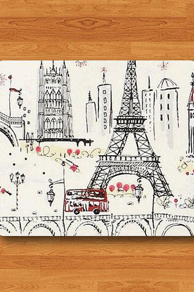 French Paris Red Minibus Eiffel Tower Painted Mouse Pad MousePad Desk Deco Work Pad Mat Rectangle Personal Ecofriendly Sustainable Desk#2-9
