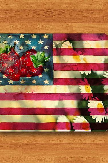Strawberry USA American Flag Flower Floral Star Vintage Mouse Pad Sweeties MousePad Desk Deco Work Pad Mat Rectangle Personal Gift Christmas#2-12