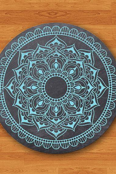 Blue Mint Mandala Draw on Black Chalk Board Mouse Pad Electronics Pads Gift For Teacher MousePad Office Desk Deco New Year Painting Art Gift#2-13