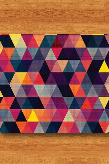 Triangle Geometric Abstract Colorful Fabric Mouse Pad Vintage Computer Gift Design Pattern MousePad Color Work Accessories Drawing Desk#2-14