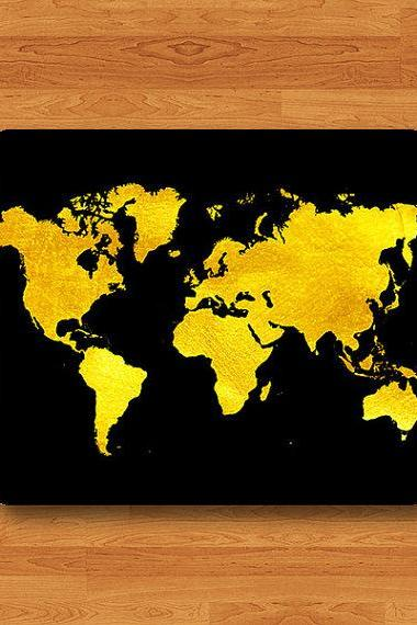 GOLD World Map Atlas Black Art Print Mouse Pad Geographic MousePad Desk Deco Work Pad Mat Rectangle Personal Ecofriendly Sustainable Desk#2-17
