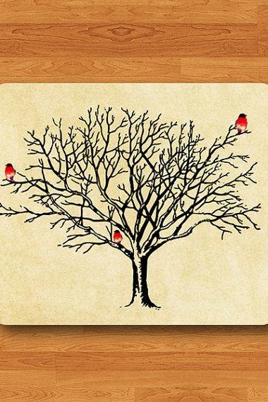 Vintage Tree Branch Litter Bird Mouse Pad Hand Draw Watercolor Parchment Desk Deco Rubber MousePad Office Gift Computer Pad Personalize Gift#2-21