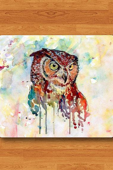 OWL Watercolor ART Painting Mouse Pad Mat Messy Drawing Printed MousePad Desk Deco Vintage Gift Computer Pad Personal Colorful New Year Gift#2-23