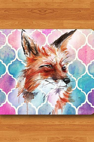 Fox Watercolor Moroccan Cuisine Colorful Pattern Animal Cute Desk Deco Work Pad Personal Gift Christmas Little Fox Rubber Computer Pad Gift#2-29