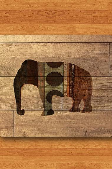 Animal ELEPHANT Mixed Pattern Wood Mouse Pad Geometric Art Wooden MousePad Computer Desk Deco Work Pad Mat Computer Personalized Boss Gift#2-31