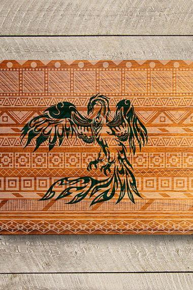 PHOENIX Aztec Tribal Wooden Grave Mouse Pad Art Drawing Bird Work Office Desk Deco MousePad Painting Gift Personalized Computer Accessory#2-34