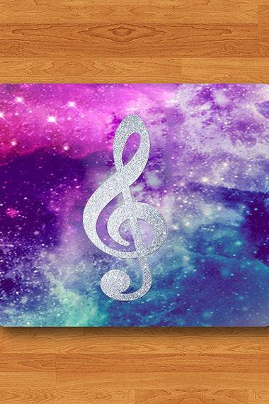 Silver Clef Symbol Scale Sheet Music Mouse Pad Hipster Galaxy MousePad Black Drawing Desk Deco Rubber Friendship Gift Personalized Handmade#2-38