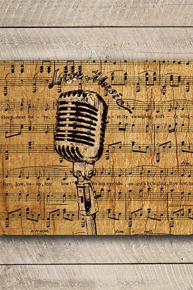 Vintage Music Microphone Live Music Mouse Pad Black Drawing Desk Deco Song Notes Antique Mousepad Love Old Items Office Computer Pad Gift#2-41