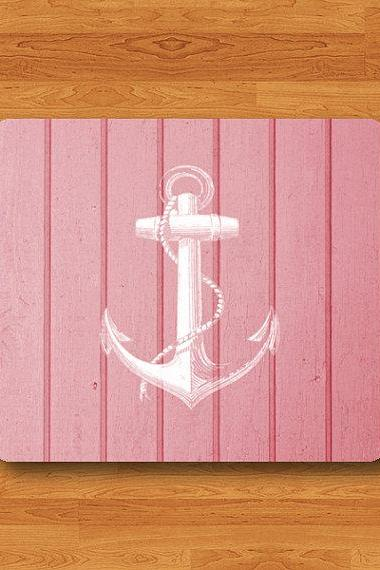 Pink Wood White Anchor Art Wooden Mouse Pad Sweet Hipster MousePad Office Desk Deco Rubber Pad Custom Computer Accessory Boss Christmas Gift#2-44