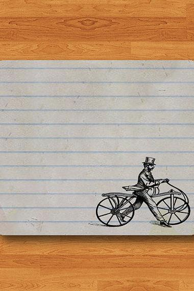 Paper Note Vintage Bicycle Mouse Pad Art Book Drawing Horizontal Stripes MousePad Computer Matt Personalized Gift Desk Deco New Year Gift#2-45