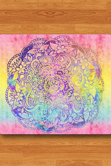 Watercolor Hipster Mandala Drawing Mouse Pad Abstract Color Painting MousePad Soft Fabric Rubber Desk Deco Office Personal Customized Gift#2-47