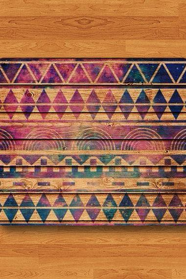 Aztec Wood Galaxy Wooden Geometric Shape Tribal Indian Art Triangle Mouse Pad MousePad Desk Deco Work Pad Mat Rectangle Personal Gift#2-50