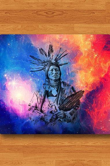 Tribal Indian Man Aztec Art Mouse Pad Galaxy Red Drawing Painting MousePad Desk Deco Work Station Pad Print Custom Personalized Boss Gift#2-56