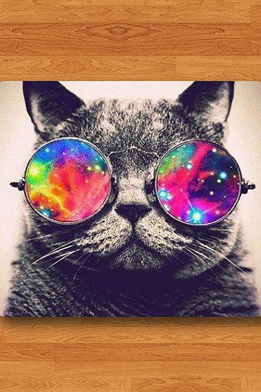 Funny Cat Wearing Galaxy Hipster Glasses Mouse Pad Mat Cooling MousePad Natural Desk Deco Vintage Computer Pad Personalized New Year Gift#2-58