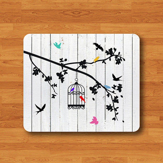 Bird Cage Drawing Draw White Wooden Mouse Pad Vintage Color Mousepad Electronics Pads Office Deco New Gift For HIM & Her Large Computer Pad#2-26