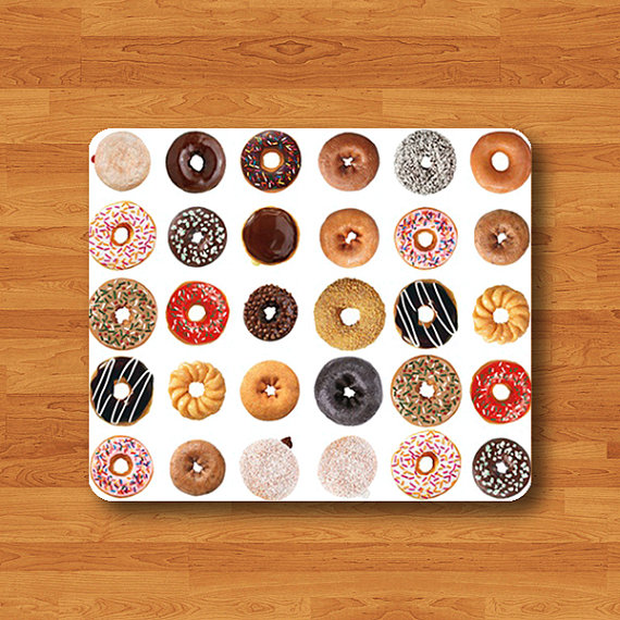 Donut Sweet Chocolate Dessert Recipes Mouse Pad Happy Honey Doughnut MousePad Desk Deco Work Pad Mat Rectangle Personal Gift Computer Pad#2-27
