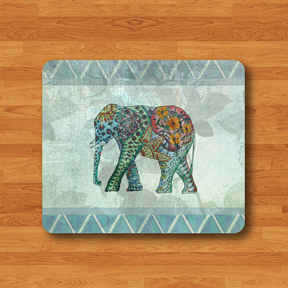 Blue Geometric Pattern Elephant Lace Flower Floral Elephant Mouse Pad Black Drawing Big Animal Desk Deco Rubber Computer Work Pad MousePad#2-49