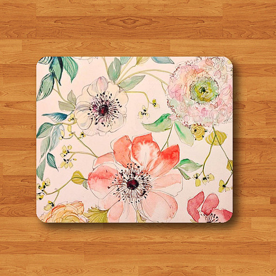 Vintage Flower Rose Floral Jasmine Girl Beautiful Pattern Mouse Pad MousePad Desk Deco Work Pad Mat Rectangle Personal Boss Gift Christmas#2-51