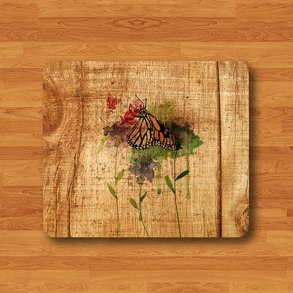Flower Floral Vintage Watercolor Drawing Rose Mouse Pad Butterfly Wood MousePad Computer Desk Deco Rubber Office Work Pad Insect Art Gift#2-55